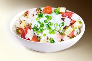 "Салат из ""Краб в помидорах"" (краб. мясо, кукуруза, помидоры, лук, сыр, м-з) 150 г"