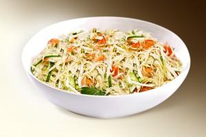 Салат «Бахор» (капуста, морковь, помидор, огурец, сл.перец, зелень, специи, р-м) 150 г