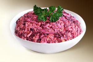 Салат «Новруз» (свекла, яйцо, чеснок, сол.огурец, редис,  м-з) 150 г