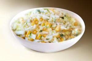 Салат «Нежный» (огурец, кукуруза, яблоко, яйцо, м-з) 150 г