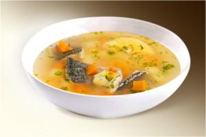 Суп «Калья рыбная» (карп, морковь, лук, сол.огурец, рассол огуречный, лимон, специи) 300 г