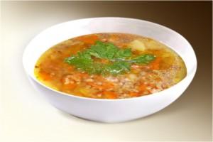 Суп «Гречневый» (свин, картофель, лук, морковь, гречка, грибы, специи) 300 г