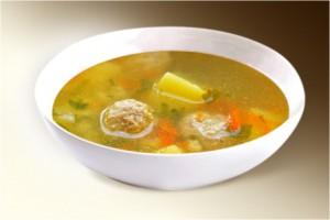Суп «Картофельный с фрикадельками» (картофель, лук, морковь, фрикадельки мясные, специи) 300 г
