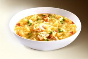 Суп «Щи по-фински» (капуста, картофель, лук, чеснок, сало, колбаса в/к, специи) 300 г
