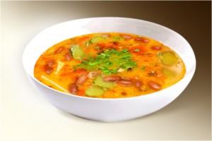 Суп «Рассольник по-кубански» (картофель, лук, томат, почки, сердце, сол. огурец, фасоль, чеснок, специи) 300 г