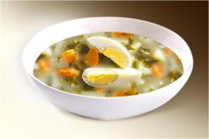 Суп «Щавелевый с рисом» (картофель, морковь, щавель, рис, лук, яйцо, специи) 300 г