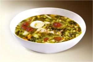 Суп «Дачный» (шпинат, лук, морковь, сельдерей, яйцо, картофель, помидор, специи) 300 г