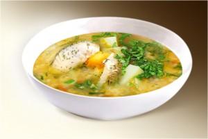 Суп «Рыбак» (морковь, лук, картофель, сол.огрец, перловка, треска, специи) 300 г