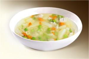 Суп «Рисовый с зеленым горошком» (рис, картофель, куры, лук, морковь, специи, горошек) 300 г