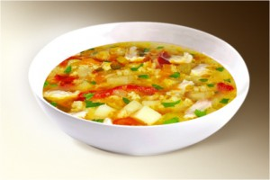 Суп «Майский» (картофель, лук, яйцо, шпинат, сл.перец, помидор, свин, говяд, специи) 300 г