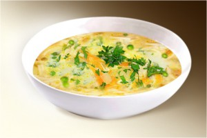 Суп «Сырный с вермишелью» (вермишель, сыр плавленый, лук, морковь, горошек, специи) 300 г