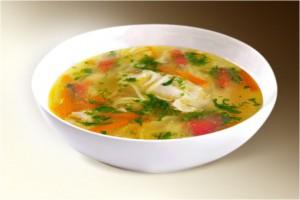 Суп «Куриный с макаронами» (куры, макароны, морковь, сельдерей, помидоры, картофель, специи) 300 г