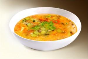 Суп «Рассольник три крупы» (сол.огурец, картофель, лук, морковь, томат, перловка, рис, пшено, специи) 300 г