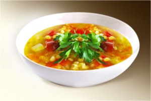 Суп «Гороховый» (горох, морковь, картофель, лук, ребра свин. копченые, специи) 300 г