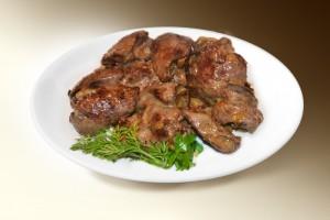 Печень тушеная с грибами (печень говяж, грибы, лук, специи) 100/20 г
