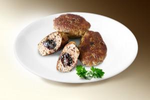Котлеты с черносливом (фарш кур, лук, яйцо, сыр, чернослив, специи) 120 г