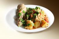 Жаркое по-домашнему (картофель, куры, морковь, лук, помидоры, чеснок, специи) 250 г